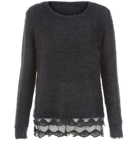 Mela Black Lace Hem Fluffy Jumper  | New Look