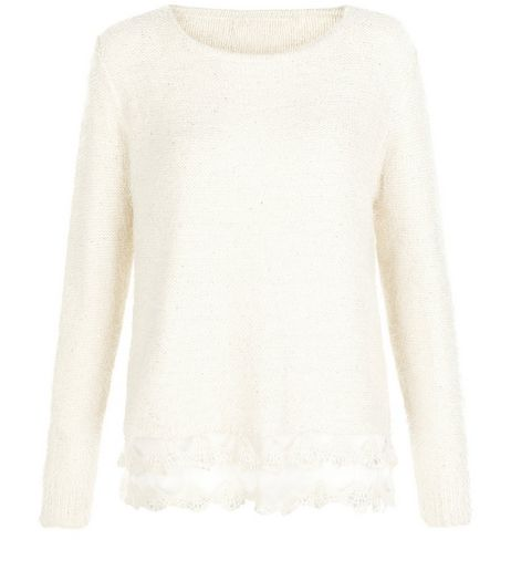 Mela Cream Lace Bottom Sweater  | New Look