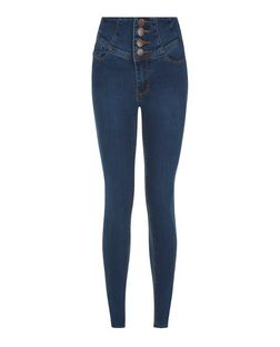 Dark Blue High Waisted Skinny Jeans | New Look