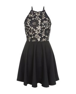 Black Crochet High Neck Skater Dress | New Look
