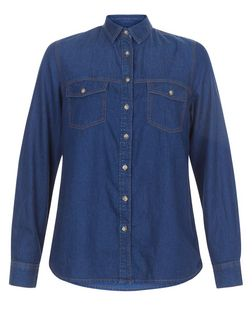 Navy Denim Double Pocket Long Sleeve Shirt  | New Look