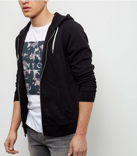 Black Zip Up Hoodie  | New Look