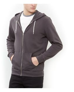 Dark Grey Zip Up Hoodie  | New Look