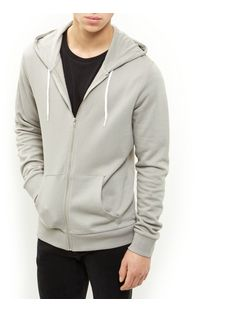 Light Grey Zip Up Hoodie  | New Look