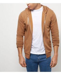 Camel Zip Up Hoodie  | New Look