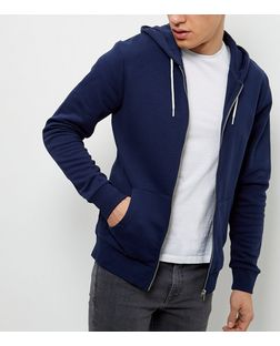 Navy Zip Up Hoodie  | New Look