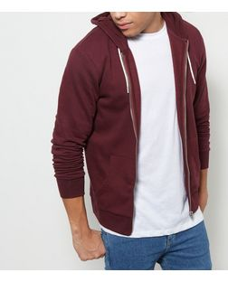 Burgundy Zip Up Hoodie  | New Look
