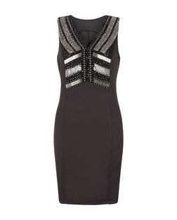 Blue Vanilla Black Embellished V Neck Dress | New Look