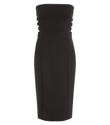 Blue Vanilla Black Strapless Side Strap Bodycon Dress | New Look