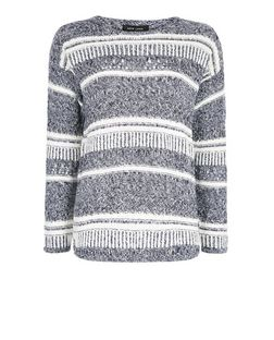 Blue Textured Stripe Jumper  | New Look