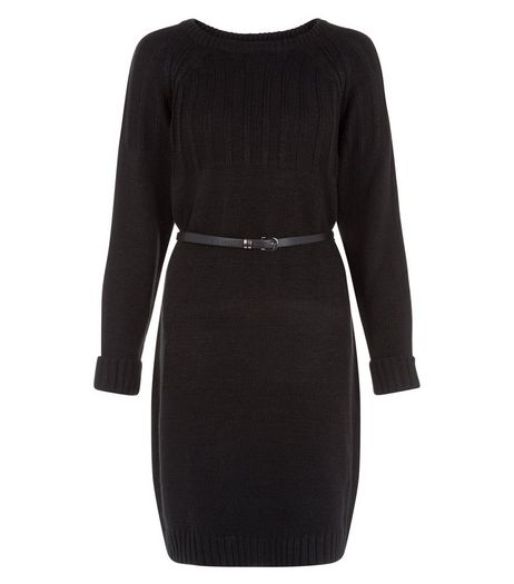 Cutie Black Knit Belted Dress | New Look
