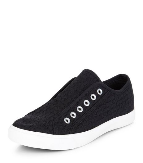 Black Textured Laceless Plimsolls  | New Look
