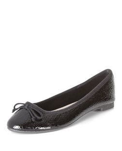 Black Patent Woven Ballet Pumps  | New Look