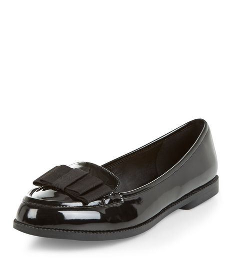Black Patent Bow Front Loafers  | New Look