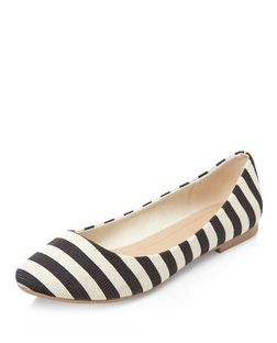 Black Stripe Ballet Pumps  | New Look