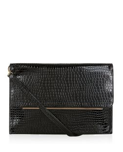 Black Patent Croc Texture Clutch  | New Look