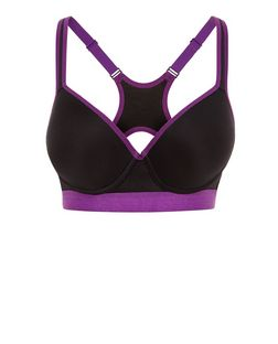 Black Contrast Trim Push Up Sports Bra | New Look