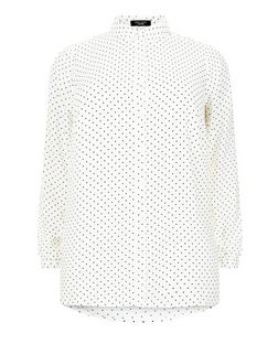 Curves White Polka Dot Long Sleeve Shirt | New Look