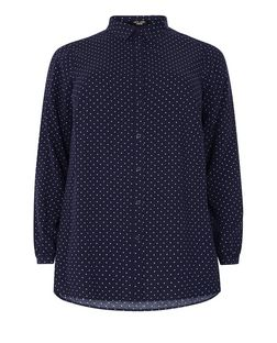 Curves Blue Polka Dot Long Sleeve Shirt  | New Look