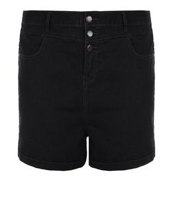 Curves Black High Waisted Denim Shorts | New Look