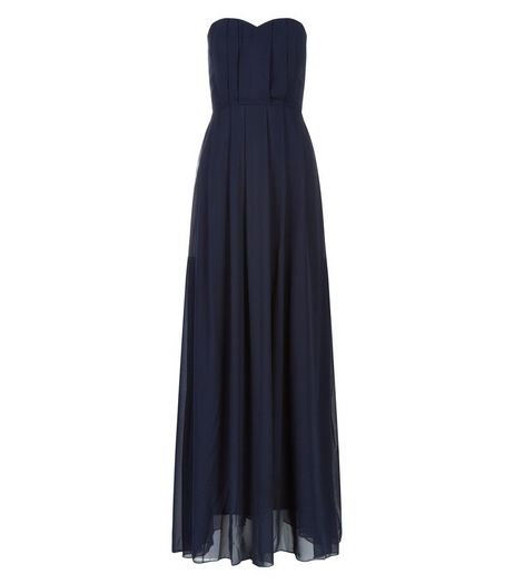 AX Paris Navy Chiffon Pleated Maxi Dress  | New Look