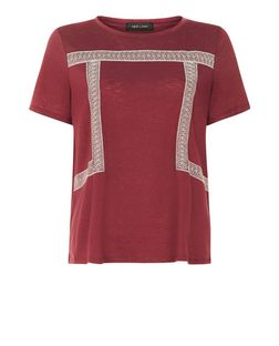 Burgundy Embroidered Square T-Shirt  | New Look