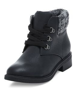 Teens Black Knit Cuff Lace Up Ankle Boots | New Look