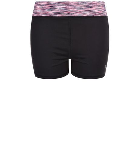 Petite Black Space Dye Contrast Sports Shorts  | New Look