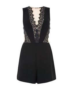 Black Lace Panel Playsuit  | New Look