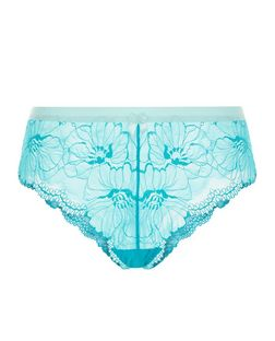 Blue Lace Contrast Trim Brazilian Briefs | New Look