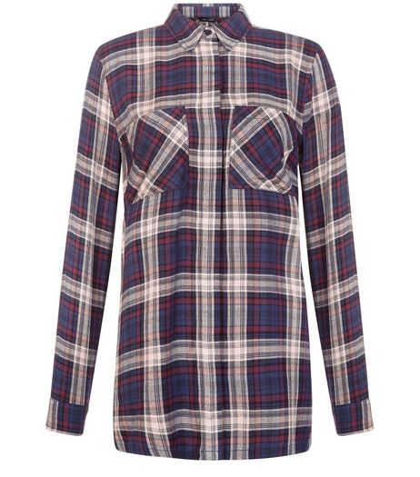 Black Check Double Pocket Longline Shirt  | New Look