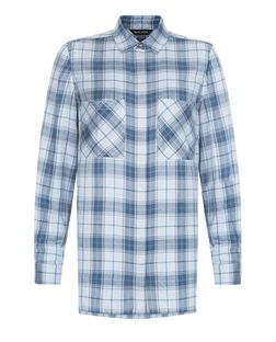 Blue Check Double Pocket Long Sleeve Shirt  | New Look