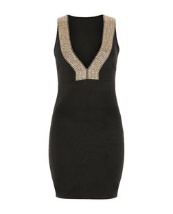 Love & Lies Black Contrast V Neck Bodycon Dress | New Look