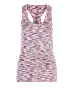 Pink Space Dye Seam Front Yoga Sports Vest  | New Look