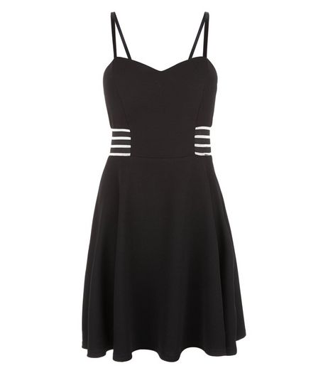 Black Sheer Elastic Stripe Trim Skater Dress  | New Look