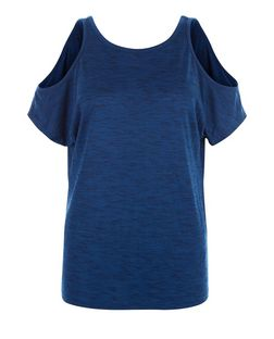 Navy Space Dye Cold Shoulder Yoga Sports T-Shirt  | New Look
