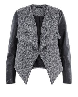 Black Textured Leather-Look Sleeve Waterfall Jacket  | New Look