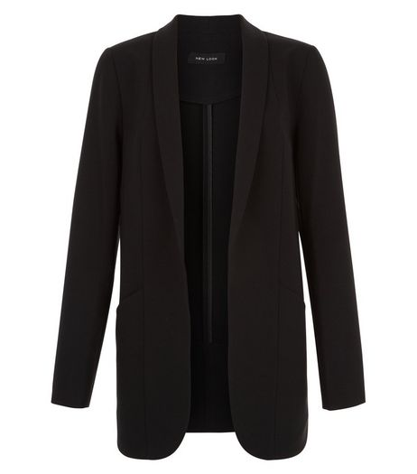 Black Curved Hem Blazer  | New Look
