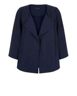 Navy Flutter Sleeve Blazer  | New Look