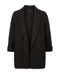 Blazer long noir aspect gaufré texturé   New Look