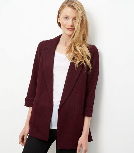 Blazer long bordeaux texture gaufrée | New Look