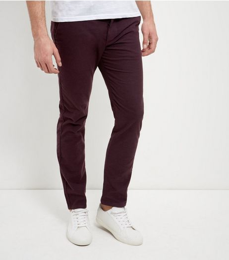 Burgundy Brushed Slim Fit Chinos  | New Look