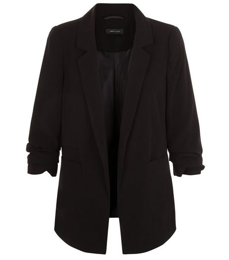 Black Ruched Sleeve Longline Blazer  | New Look