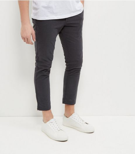 Dark Grey Brushed Tapered Trousers  | New Look