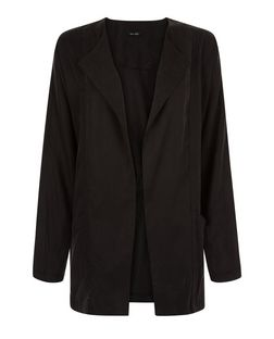 Black Ruched Back Cupro Blazer | New Look