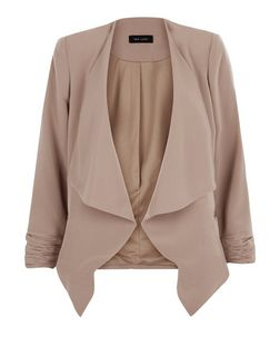 Mink Crepe Waterfall Blazer  | New Look