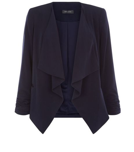Navy Crepe Waterfall Blazer  | New Look