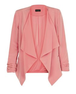 Coral Crepe Waterfall Blazer  | New Look