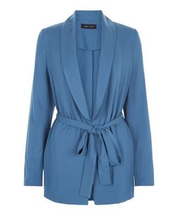 Blue Cupro Belted Blazer | New Look
