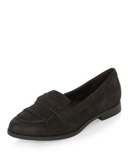 Wide Fit Black Suede Fringe Loafers  | New Look